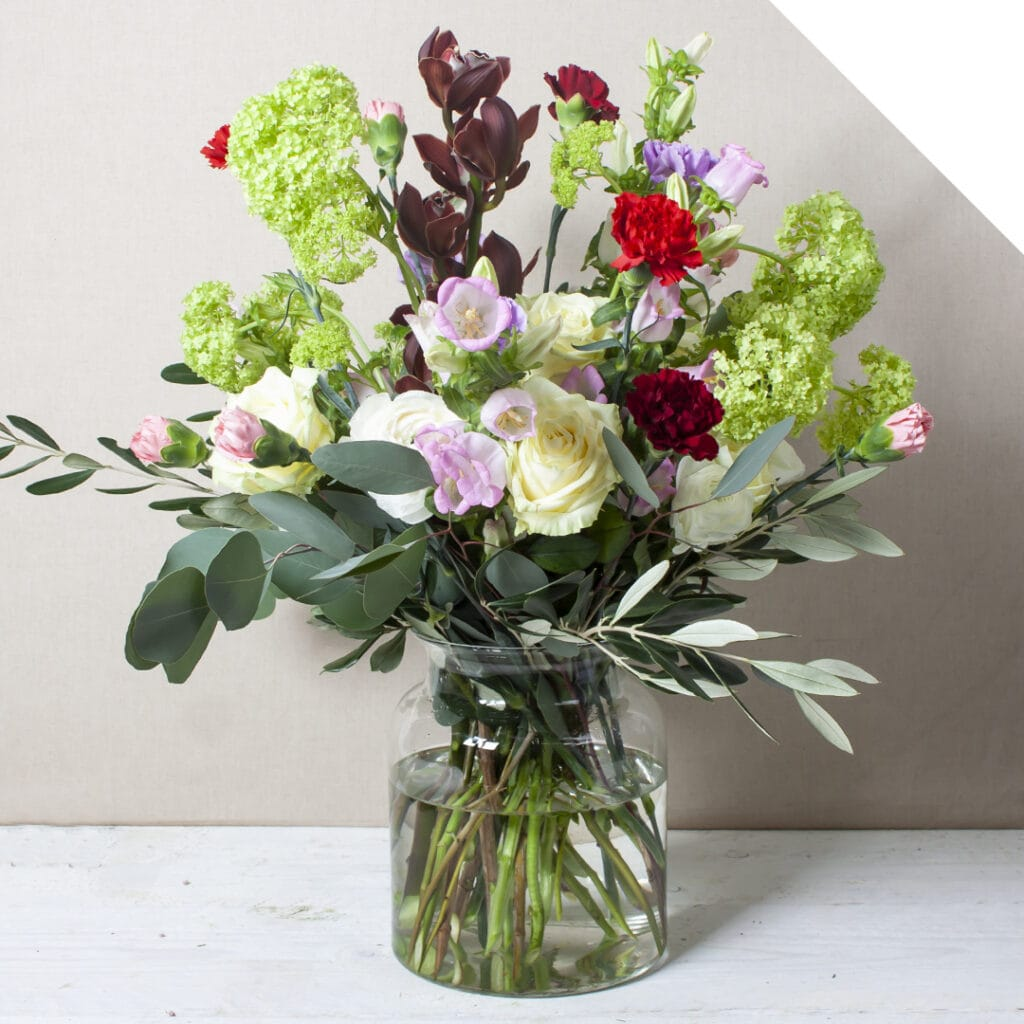 Valentines Bouquet with Carnations in a vase