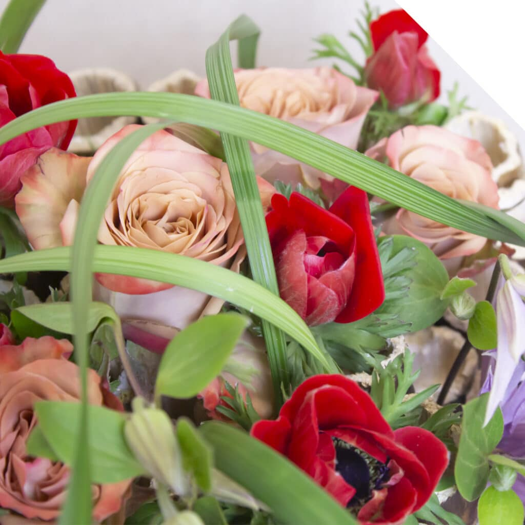 Close up of a bouquet with red Anemone, Roses and Clematis