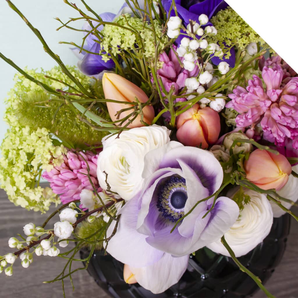 Picture of a Spring Wedding Bouquet with Hyacinths and Tulips